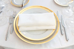 White plate yellow canvas tablecloth napkin serviette Stock Photography