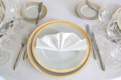 White plate yellow canvas tablecloth napkin serviette Royalty Free Stock Photography
