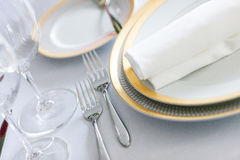 White plate yellow canvas tablecloth napkin serviette Stock Photo