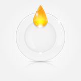 White plate and yellow drop Royalty Free Stock Image