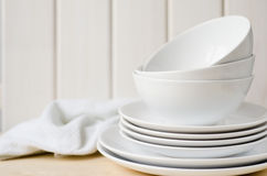 White plates and bowls Stock Photo