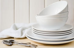 White plates and bowls Stock Image