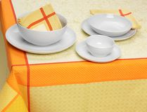White plates cups Stock Image