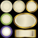 White plates with ornament Stock Image