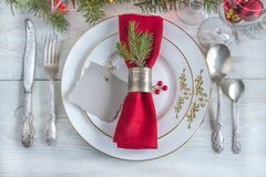Table setting for christmas or new year dinner stock image