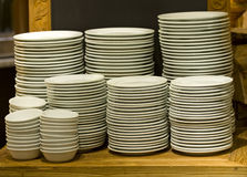 White plates stacked Stock Photos