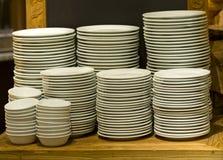 White plates stacked Stock Photos