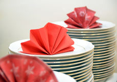 White plates stacked on a table Royalty Free Stock Image