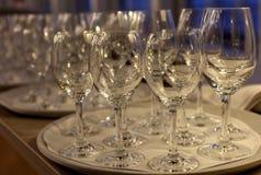 White plates and stemware glass Stock Photos