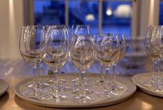 White plates and stemware glass Stock Image