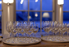 White plates and stemware glass Royalty Free Stock Photo