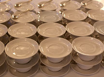 White plates and stemware glass Royalty Free Stock Image