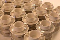 White plates and stemware glass Stock Photo