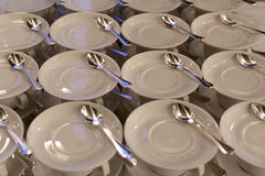 White plates and stemware glass Royalty Free Stock Photography