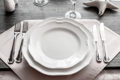 Table wares in the restaurant stock photos