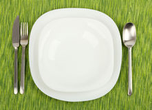Plates with utensils on a green tablecloth. Royalty Free Stock Photos
