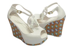 White platform sandals. Woman white platform shoes. Isolated on white Royalty Free Stock Images
