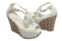 White platform sandals Royalty Free Stock Images
