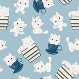 White playful kittens seamless pattern. Playful kittens seamless pattern. White cats on blue background stock illustration