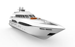 White Pleasure Yacht Isolated on White Background Stock Photography
