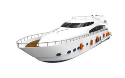 White Pleasure Yacht Isolated on White Background. 3d render Royalty Free Stock Photography
