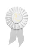 White pleated ribbon rosette for 3rd Place Stock Photography