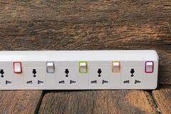 White plug socket electric power bar or extension block Stock Photos