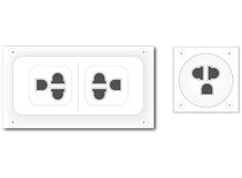 White plug on white wall vector Stock Photo