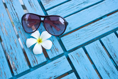 White plumeria and a glasses Stock Images