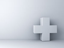 White plus sign abstract concept on white wall Royalty Free Stock Photo