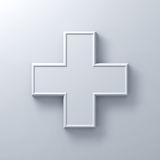 White plus sign abstract on white wall background with shadow. 3D rendering Royalty Free Stock Photo