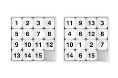White Pocket Sliding Fifteen Rebus Puzzle Game. 3d Rendering. White Pocket Sliding Fifteen Rebus Puzzle Game on a white background. 3d Rendering Royalty Free Stock Photos