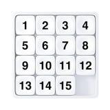 White Pocket Sliding Fifteen Rebus Puzzle Game. 3d Rendering. White Pocket Sliding Fifteen Rebus Puzzle Game on a white background. 3d Rendering Royalty Free Stock Image