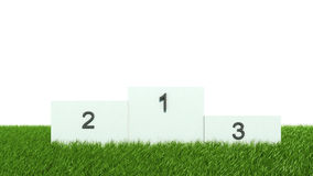 White podium on green grass Stock Images