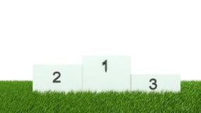 White podium on green grass.  Stock Images