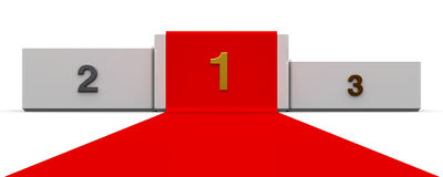 White podium with red carpet. White podium with three rank places and red carpet, three-dimensional rendering, 3D illustration Royalty Free Stock Photo