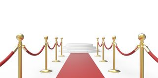 White podium on red carpet VIP way gold fence on white gray background Royalty Free Stock Image