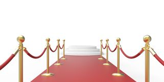 White podium on red carpet VIP way gold fence on white gray background Royalty Free Stock Photography
