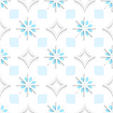 White pointy rhombuses with blue and white snowflakes seamless. Abstract 3d seamless background. White pointy rhombuses with blue and white snowflakes and cut Royalty Free Stock Photos