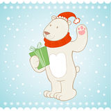 White polar bear Christmas greeting card Stock Photos