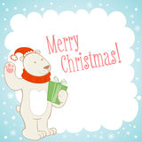 White polar bear Christmas greeting card Stock Images
