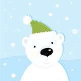 White Polar Bear On Snow Stock Photo