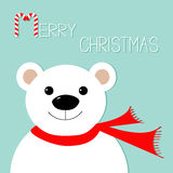 White polar bear in red scarf. Candy cane. Merry Christmas Greeting Card. Blue background. Flat design Royalty Free Stock Photography