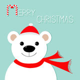 White polar bear in Santa Claus hat and scarf. Candy cane. Merry Christmas Greeting Card. Blue background. Flat design Royalty Free Stock Images