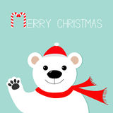 White polar bear in santa claus hat and scarf, paw. Candy cane. Merry Christmas Greeting Card. Blue background. Flat design Stock Photo