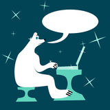 White polar bear writes to a laptop and talking. royalty free stock images