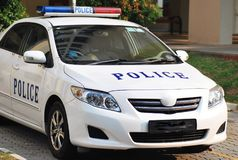 A white police patrol car Royalty Free Stock Image