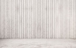 White polished concrete floor with wood wall Stock Photo