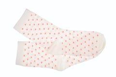 White polka dot childish socks isolated. Stock Photography