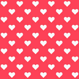 White polka dots hearts on red background Stock Images